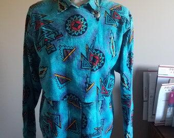 Turquoise Southwestern Print WRANGLER Shirt