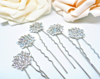 Bridal hair pins, hair pins, wedding hair pins, rhinestone hair pins, flower hair pins, bridesmaid hair pins, wedding hair accessories.