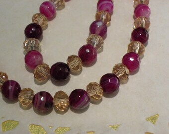 Necklace pink agate with pink Crystal beads, necklace