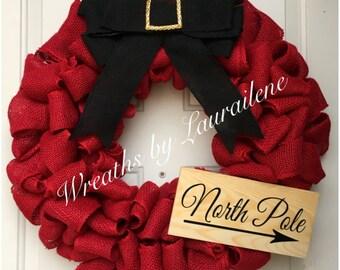 Red burlap North Pole Christmas wreath