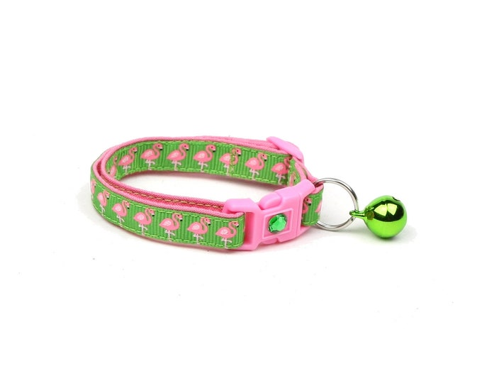 Tropical Cat Collar - Pink Flamingos on Green - Kitten or Large Size