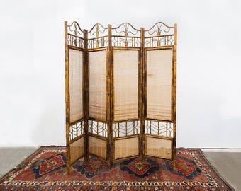 Four Panel Bamboo & Raffia Folding Screen