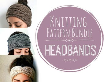 Headband Knitting Pattern Bundle - 3 Patterns, Three Pattern Packet, Buy Two Patterns Get One Free, Knit Headband Pattern Bundle