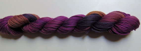 Spicy Plum- 100 Organic Cotton hand dyed, hand painted variegated yarn