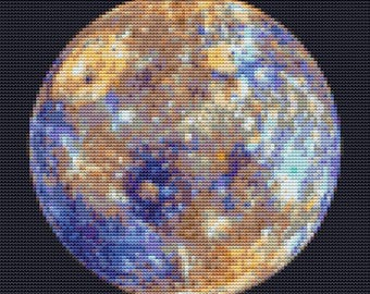 Mercury Cross Stitch Pattern PDF, Space Cross Stitch, Planet Cross Stitch Chart, Planetary Series, Embroidery Chart