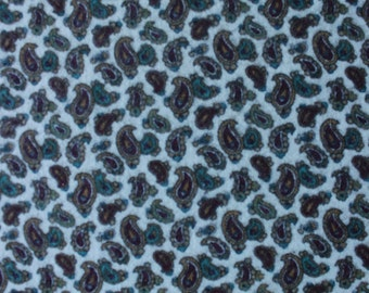 44 X 16 Burgundy Teal and Gold on Ivory Paisley Print Cotton Flannel Fabric Remnant