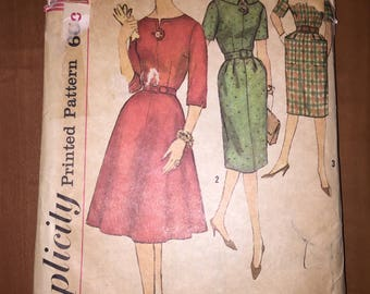 Simplicity Sewing Pattern 3755 Slenderette Misses One Piece Dress With Two Skirts and Detachable Neckline and Sleeve Trim Size 12