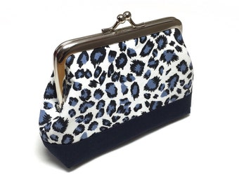 Blue Leopard Print coin purse