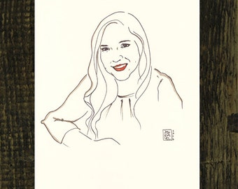 2 Custom portrait illustrations, original drawing from photo, personalized women gift painting, bespoke art, line drawing, minimal art