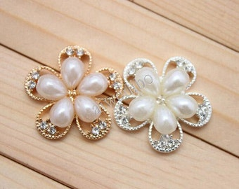 25mm Rhinestone Pearl Button , Flatback Button , Hair Flower ,DIY