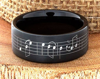 Music Note Tungsten Wedding Band Music Note Ring Band Modern Tungsten Ring Customized Tungsten Band Music Sheet Laser Engraved Ring Band 9mm
