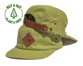 Snappies Hemp Rocky Mountain High 5 Panel Hat   Leather Patch   Mountain Patch   Colorado   Green   Leather Strap   Pacific Northwest
