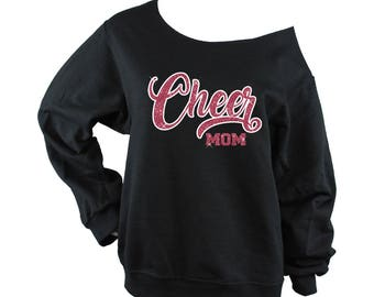 Cheer Mom Sweatshirt Off Shoulder Raw Edge  GLITTER, cheer mom shirt, cheer shirt, cheer sweatshirts, Plus Sizes (Red Glitter/White Vinyl)