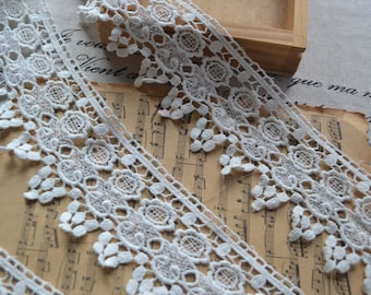White Lace Trim Cotton Hollowed Out Trim 2.75 Inch Wide 2 Yards H038