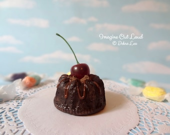 Fake Cake Mini Bundt Dark Chocolate Syrup and Cherry Sweet Decor Kitchen Display Gift