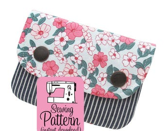 Two Pocket Wallet PDF Sewing Pattern: Fast and easy to sew mini wallet with two pockets and snap closure.