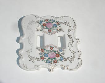 Vintage Double Light Switch Plate -  White Flower Ceramic Lightswitch Cover- Reno Decor 1970's