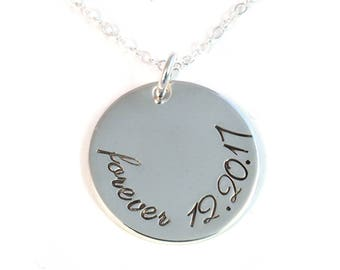 Adoption Necklace - Forever Family - Sterling Silver Gotcha Day Necklace - Hand Stamped Sterling Silver