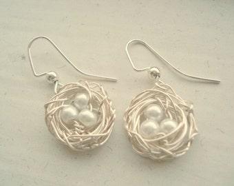 Nest Earrings Birdnest Earrings Silver Bird Pearl Earrings Nest Jewelry Wedding Bridesmaids Mom Sister Family Friend