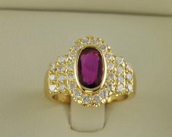 Striking un-treated natural ruby and diamond high end  vintage ring