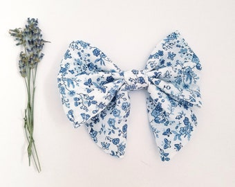 Morning Dew Sailor bow, opal boulevard,Floral,Fabric Cotton Bows,Newborn,Baby,Toddler,Grab Bag of Bows,Nylon Headband,CharleyCharles,Clip