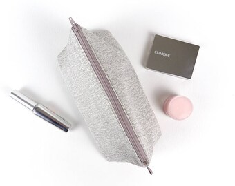 Silver Metallic Fabric Makeup Bag Sparkly Cosmetic Bag Grey Makeup Storage Womens Gift