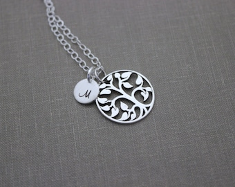 Personalized Sterling silver family tree necklace with multiple custom Initial discs - Grandma necklace Monograms - Christmas Gift for her