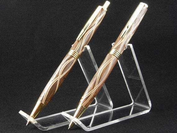 Trimline Pen and Pencil Set in Walnut Laminate, 24k Gold Trime