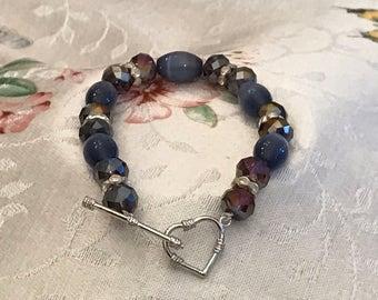 Purple Arrow Heart Bracelet
