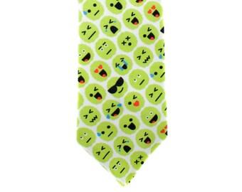Skinny Tie - Brain Emoji - Green