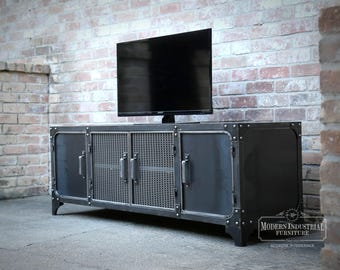Media Console Industrial | Modern | All Steel TV Stand Cabinet Vintage | Entertainment Center | Audio | HiFi Retro Metal