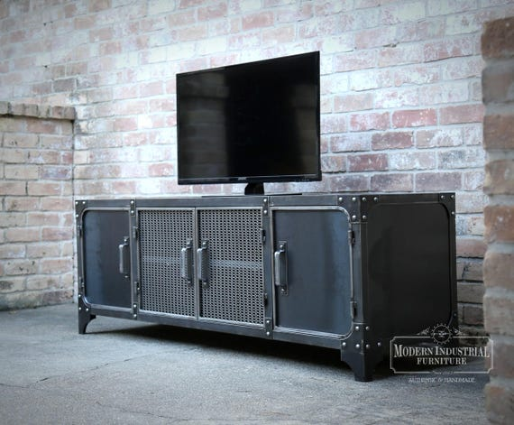 Media Console Industrial Modern All Steel TV Stand Cabinet