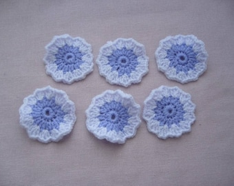 Set of 6 granny flowers are hand crocheted wool - wool two shades of purple