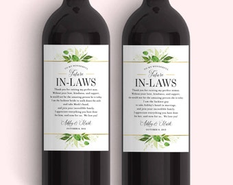 In Law Wine Labels - Wedding Thank You Gift Parents of the Bride and Groom - Mother in Law Father in Law Gift Thank You