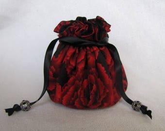 Drawstring Jewelry Tote - Medium Size - Jewelry Bag - Pouch - TWILIGHT ROSE
