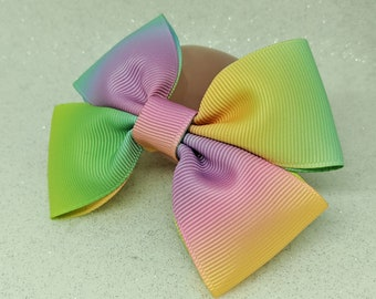 pastel rainbow hair bow, rainbow hair bow, hair bow, hair clip