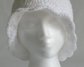 Crochet Sun Hat, Cotton Summer Hat, White Crochet Summer Hat, Shell Stitch Brimmed Sun Hat, White Cotton Crochet Brimmed Hat