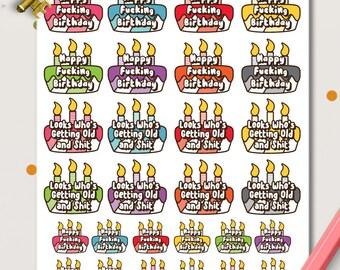 Funny Birthday Planner Stickers | Birthday Reminders | Birthday Cake