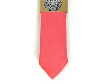 Helle Koralle Krawatte - Koralle Krawatte Hochzeit Herren Krawatte dünne Krawatte - entspannte Krawatte
