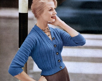 1950s Vintage Knitting Pattern Lady's Cardigan / Original Leaflet / Lee Target Pattern 5942