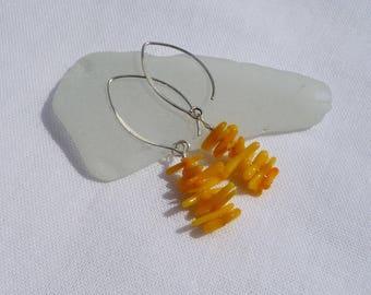 golden yellow coral sticks earrings, sunny summer earrings, beach jewelry, dangle, sterling silver earwires, boho chic earrings, handmade