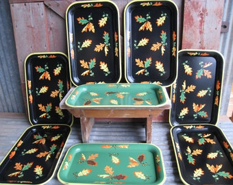 8 Metal Tin Trays Fall Autumn Leaf TV Picnic Lap Snack Set 1950's Kitsch Black Green
