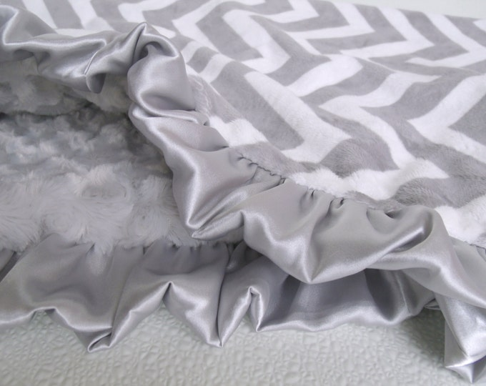 Gray Chevron Minky Baby Blanket with Silver Rose Swirl
