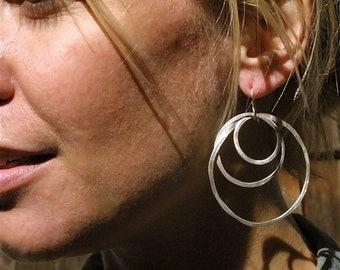 Large Silver Rustic Multi-Hoop Earrings