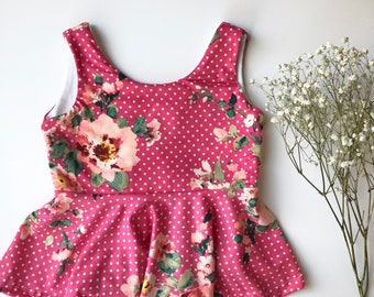 Polka Dot Pink Floral Peplum Top Girls 6 months to 4T