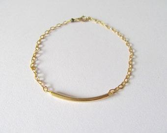 Dainty Gold filled curved tube bracelet