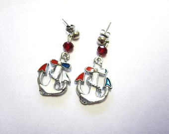 Anchor Earrings Nautical Jewelry Red White Blue Ships Post Stud