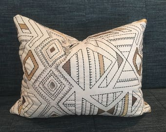 Custom Embroidered Geometric Pillow Covers / Beige, Black, Tan, Brown and Green/ Designer Fabric / Handmade Home Decor Accent Pillows