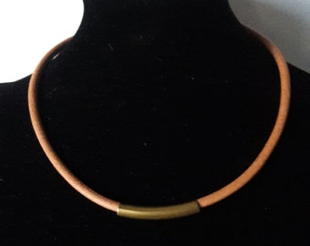Men's leather choker, Natural leather and copper tube necklace, gift for men