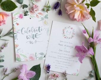 Floral Watercolour Wedding Stationery SAMPLE PACK // Handpainted Wedding Stationery Set // Brush Lettering Wedding Invitation